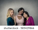 beautiful girls posing | Shutterstock . vector #585429866