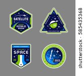 set of space mission patch... | Shutterstock .eps vector #585435368
