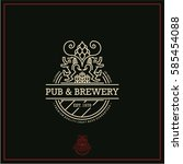 beer label  line beer logo  pub ... | Shutterstock .eps vector #585454088