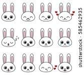 Set of kawaii cartoon bunnies with various emotions