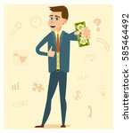 businessman holds the dollar... | Shutterstock .eps vector #585464492
