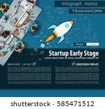 startup landing page brochure... | Shutterstock .eps vector #585471512