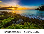 beautiful north shore of oahu...   Shutterstock . vector #585472682