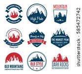 mountain badges and labels in... | Shutterstock .eps vector #585472742