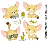 vector cartoon fenech set | Shutterstock .eps vector #585482066