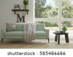 white room with sofa and green... | Shutterstock . vector #585486686