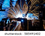 welding robots movement in a... | Shutterstock . vector #585491402
