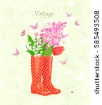 Vintage Banner With Lovely...