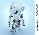 walking cute robot in front top ... | Shutterstock . vector #585493622