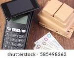 payment terminal with mobile... | Shutterstock . vector #585498362