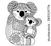 mother koala cuddling her baby... | Shutterstock .eps vector #585519776