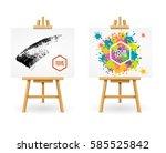 wooden easel or painter desk... | Shutterstock .eps vector #585525842