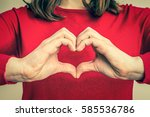 female hands showing sign of...   Shutterstock . vector #585536786