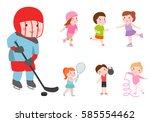 young kids sportsmens future... | Shutterstock .eps vector #585554462