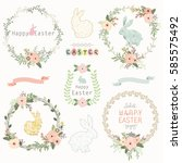 easter floral wreath | Shutterstock .eps vector #585575492