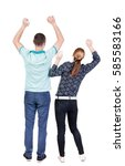 back view of  joyful couple... | Shutterstock . vector #585583166