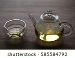 chinese tea on wooden table | Shutterstock . vector #585584792