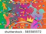happy purim festival poster ... | Shutterstock .eps vector #585585572