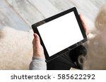 senior holding blank screen... | Shutterstock . vector #585622292