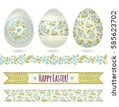 set with easter eggs and...   Shutterstock .eps vector #585623702
