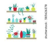 vector illustration. shelves... | Shutterstock .eps vector #585626378