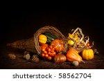 Cornucopia With Pumpkins On...