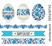 set with easter eggs and...   Shutterstock .eps vector #585628742