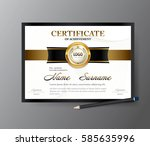 certificate template a4 size... | Shutterstock .eps vector #585635996