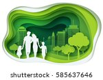 Paper art carving of family and park on green town shape, ecology idea, vector art and illustration. | Shutterstock vector #585637646