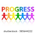 progress cut out paper people... | Shutterstock .eps vector #585644222
