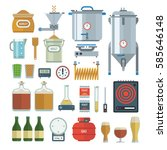 home brewing process items. all ... | Shutterstock .eps vector #585646148