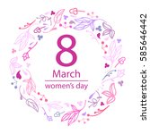 8 march design with flowers... | Shutterstock .eps vector #585646442