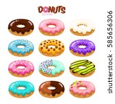 colorful set of glazed donuts... | Shutterstock .eps vector #585656306