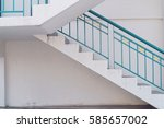 side view of white stair... | Shutterstock . vector #585657002