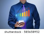 businessman with growing chart... | Shutterstock . vector #585658952