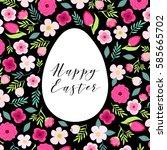 beautiful vintage happy easter... | Shutterstock .eps vector #585665702