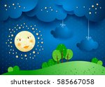 surreal landscape by night with ... | Shutterstock .eps vector #585667058