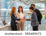 business team talking and... | Shutterstock . vector #585689672