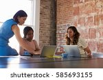 group of businesswomen working... | Shutterstock . vector #585693155