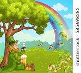cute irish leprechaun relax... | Shutterstock . vector #585698282