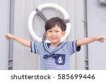 portrait of young sailor boy... | Shutterstock . vector #585699446