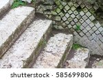 Small photo of Steps and roman opus reticolatum wall