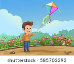cartoon child playing with kite ... | Shutterstock . vector #585703292
