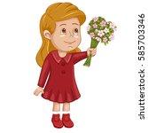 illustration of a cute girl... | Shutterstock . vector #585703346