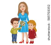 cute card with mother and... | Shutterstock . vector #585703352