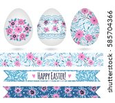 set with easter eggs and...   Shutterstock .eps vector #585704366
