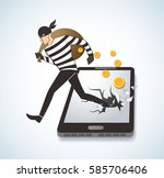 thief hacker stealing money on... | Shutterstock .eps vector #585706406
