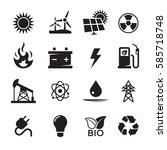 energy icons set. black on a... | Shutterstock .eps vector #585718748