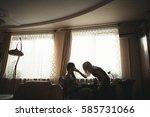 young beautiful  woman ... | Shutterstock . vector #585731066