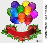 birthday party vector... | Shutterstock .eps vector #585746582
